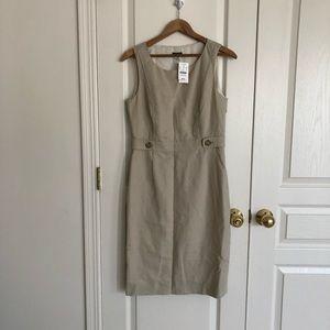 NWT J. Crew Beige Linen Blend Shift Dress Size 4